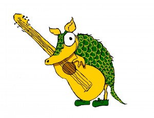 The original snout, Karmadillo mascot, as drawn by Miss Roberts.