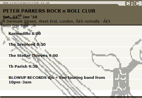 Gig Flyer for 23rd Jan 2010 in London