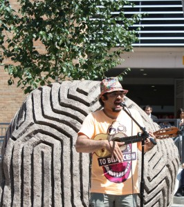 Karmadillo busking at Fishers Square