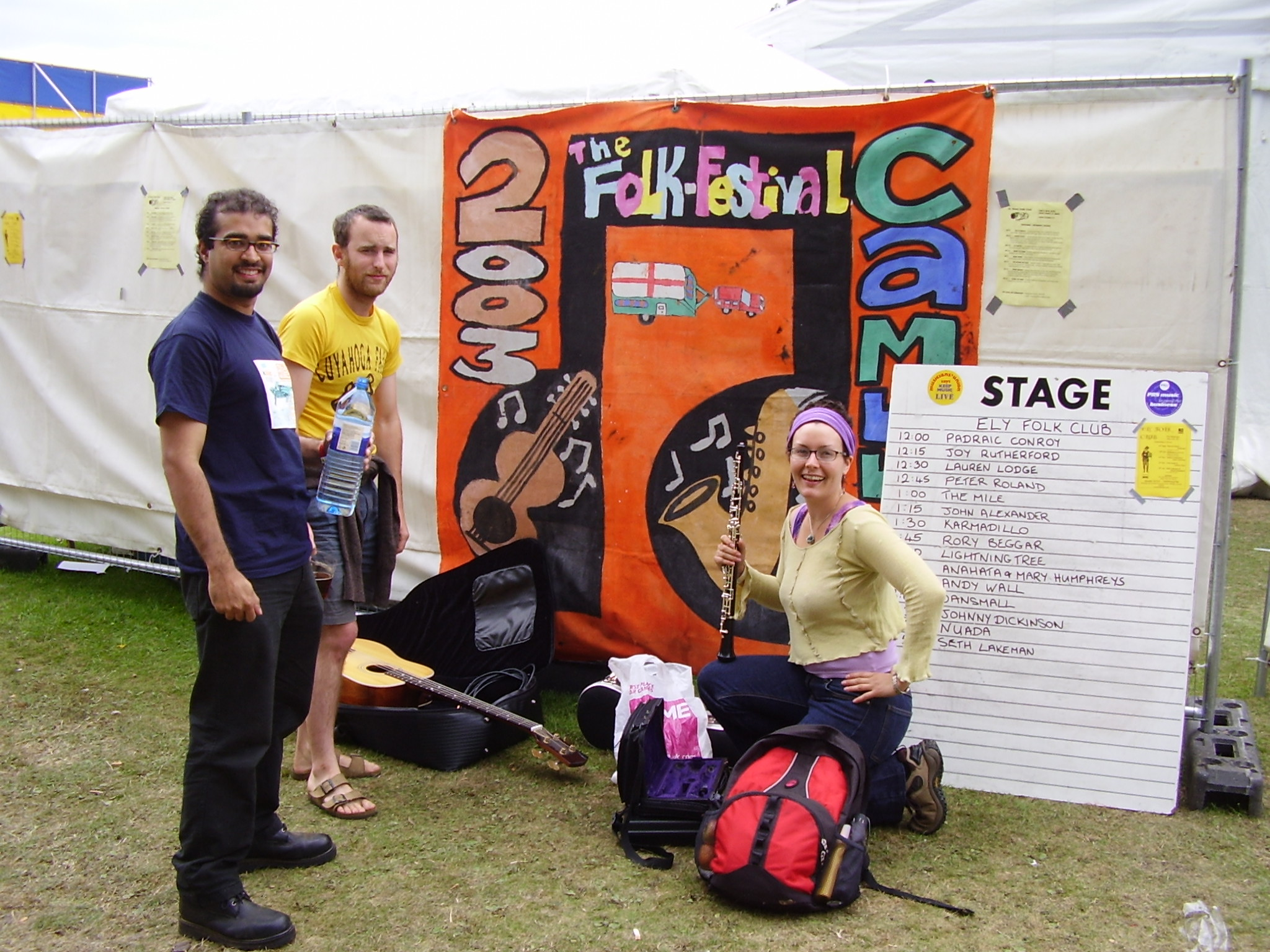Karmadillo before playing Cambridge Folk Festival 2005