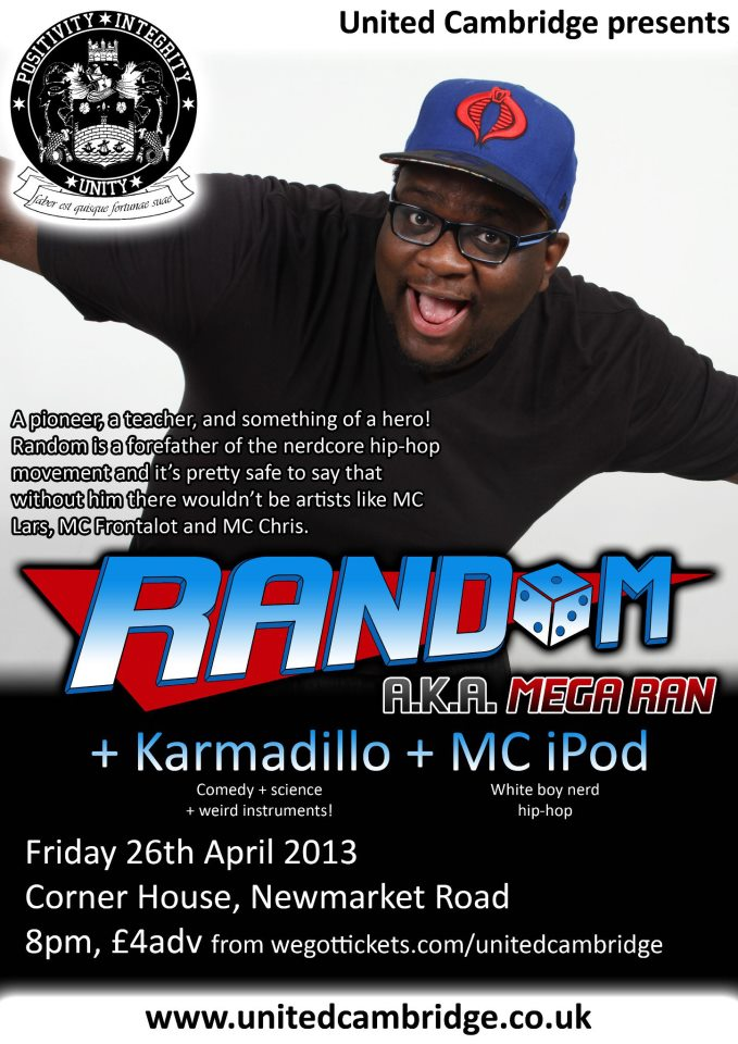 flyer for Random, Karmadillo and MC iPod