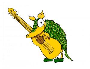 The original snout, Karmadillo mascot, as drawn by Miss Roberts.